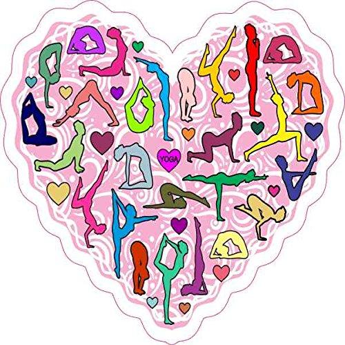 4in x 4in Pink Yoga Heart Sticker Vinyl Cup Decal Vehicle Bumper Stickers by StickerTalk Female Karate Figure