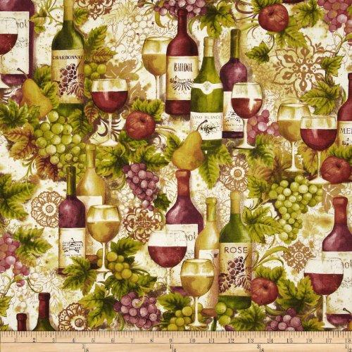 Robert Kaufman Kaufman Vineyard Collection Wine Bottles Merlot Fabric by The ()