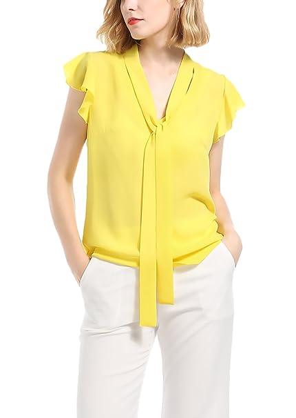 Blusas De Mujer Elegante Verano Manga Corta V Cuello Chiffon Camisas Ropa Fiesta Modernas Tops Colores