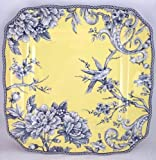 222 Fifth Adelaide Yellow Dinner Plate, Set of 4, Square Toile