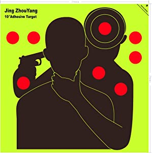 JingZhouYang Reusable Adhesive Shooting Targets Bulk Value Pack, 10 inch x 10 inch Splatter Target Stickers for Indoor and Outdoor Ranges, Fluorescent Yellow Hit Markers