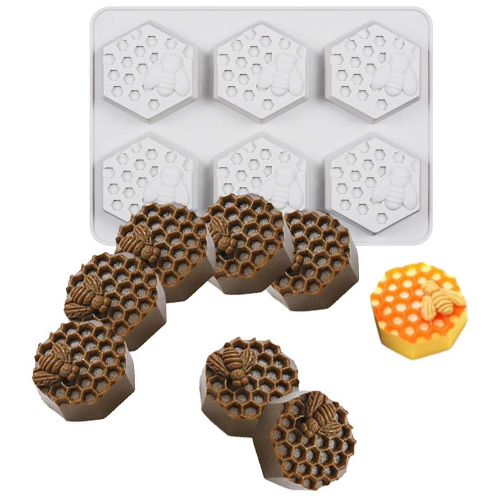 Bozoa Bee Honeycomb Soap Molds, Honeycomb Cake Molds, Dessert Pan Candy Baking Handmade Chocolate Molds, Biscuit Muffine Baking Molds, Ice Cube Tray