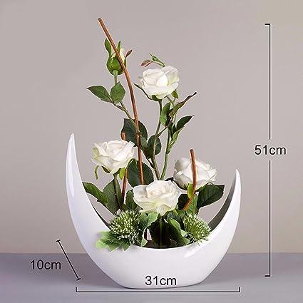 XPHOPOQ Künstliche Blumen Keramik vase Orchidee weiß Braut ...