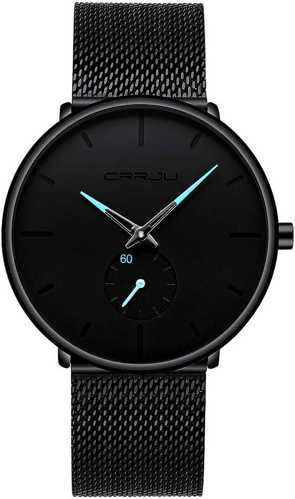Infinito U-Reloj Negro Ultra Fino para Hombre Minimalista Moda Relojes de Pulsera para Hombres Vestir Casual Impermeable Reloj de Cuarzo para Hombre con Banda Negro de Acero Inoxidable