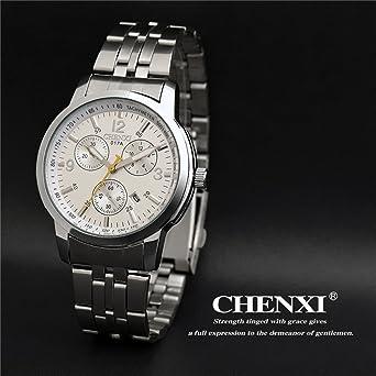 829cc94715 Amazon | ZHANGZZ 美しいCHEN XI時計 three-eye 6針ファッションスチールベルトウォッチメンズ防水ビジネス時計CX-017Aカレンダー  (Color : 2) | メンズ腕時計 ...