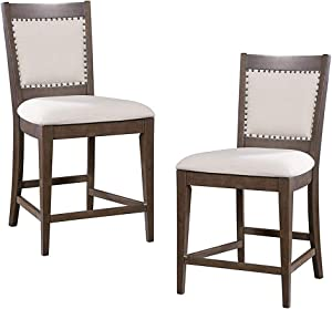 FURNITURE@HOME Food & Wine Estate Collection Counter Height Chair, Set of 2, Dark Chocolate/Walnut