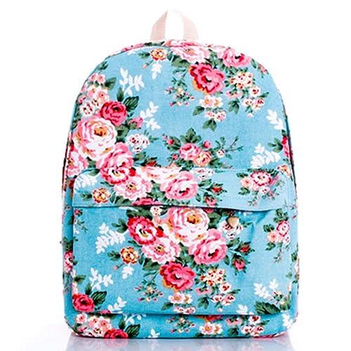 VHVCX Forme A Mujeres Mochila Escolar De Piel Bolsos Para Chicas Adolescentes Mochila Small Floral Flores Del Bordado Mochila Mochila, El Azul De La Lona: ...