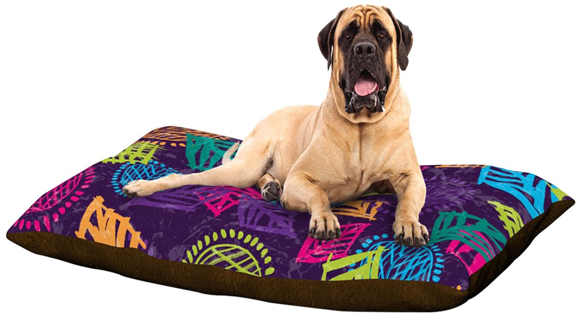 African Beat Purple X-Large 40\ African Beat Purple X-Large 40\ Kess InHouse Emine Ortega Fleece Dog Bed, 30 by 40-Inch, African Beat Purple