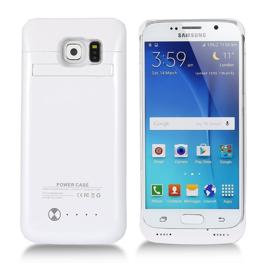 Galaxy S6 Battery Case, COOLEAD 4200mAh Slim External Protective Removable Rechargeable Portable Charging Case for Samsung Galaxy S6 with Kickstand [White]