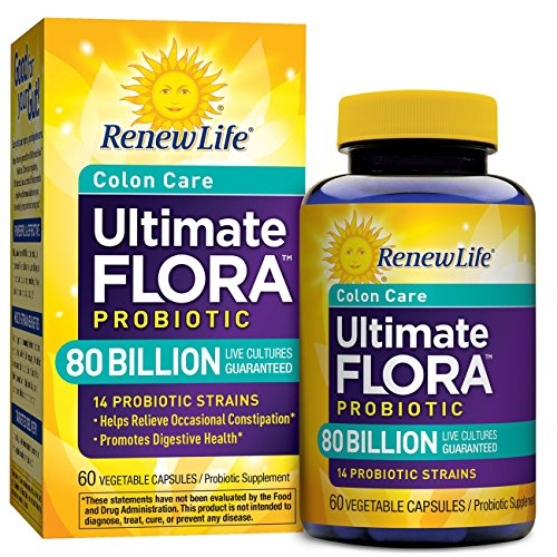 Renew Life Adult Probiotic - Ultimate Flora Colon Care Probiotic, Probiotic Supplement - 80 Billion - 60 Vegetable Capsules