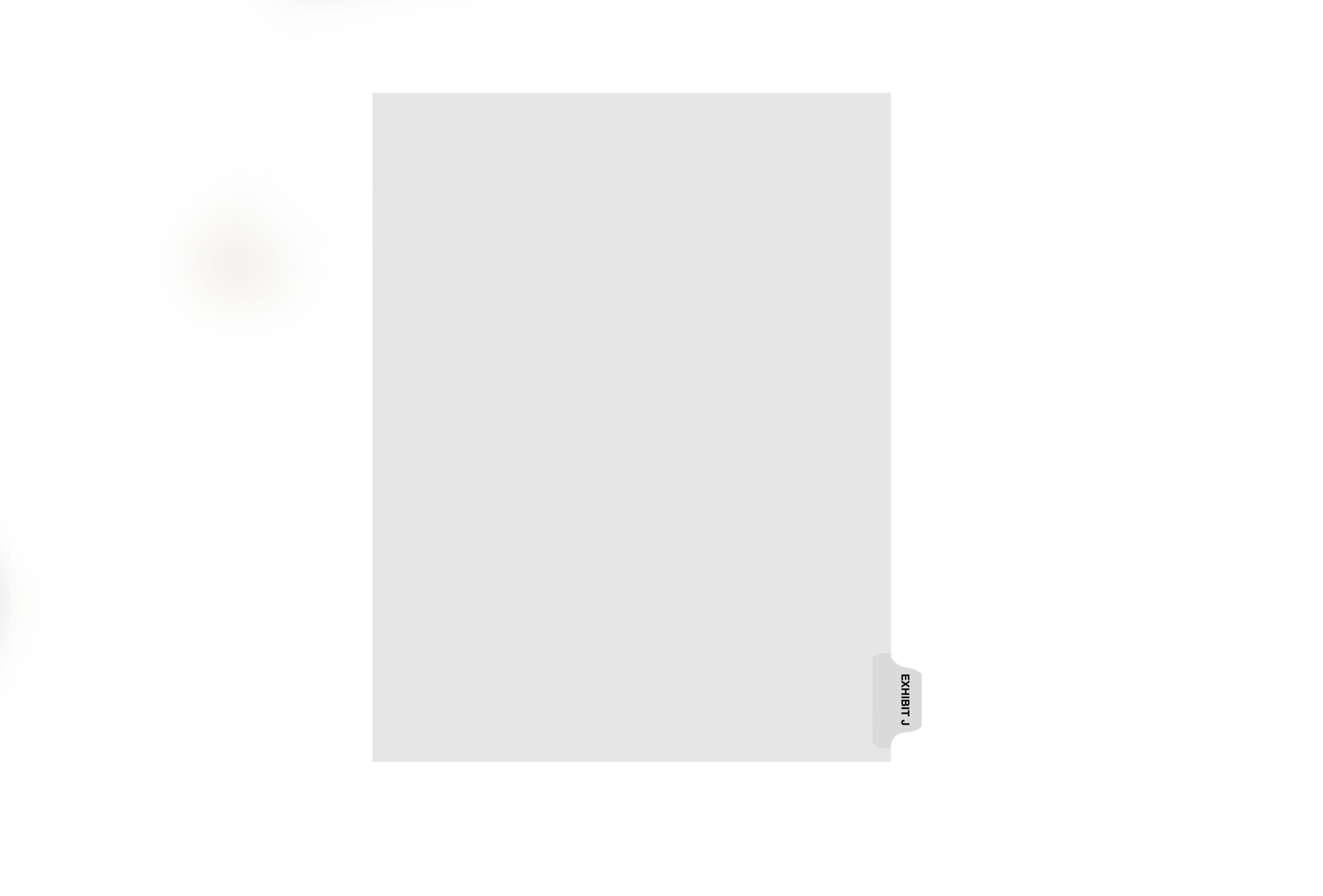Kleer-Fax Letter-Size Individual Exhibit Letter Index Dividers, Side Tab, 1/10th Cut, 25 Sheets per Pack, White, Exhibit J (81010)