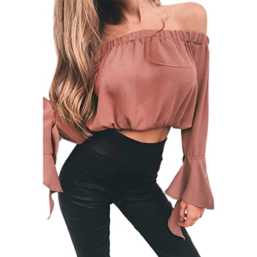 41580b46a99 Image Unavailable. Image not available for. Color  Kangma Women Sexy Off  Shoulder Crop Summer Shirts Tops T-Shirt Blouse Pink