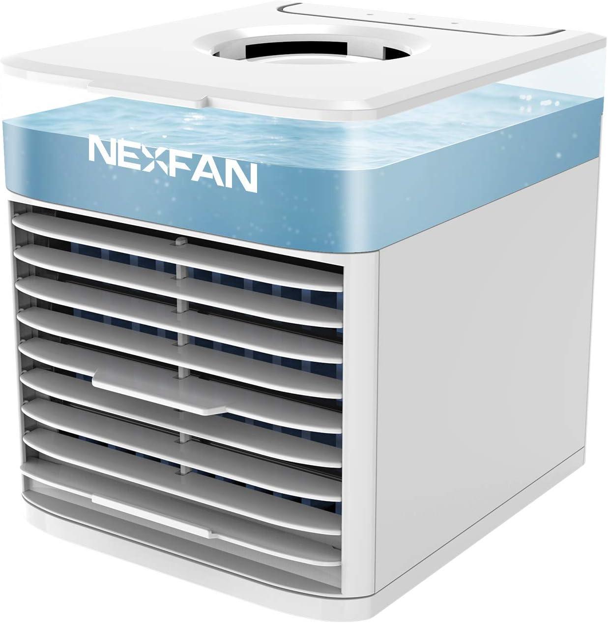 Mini Enfriador de Aire, NEXFAN Mini Acondicionador de Aire Móvil, 4 en 1 Climatizador Evaporativo Frio Ventilador Humidificador Purificador de Aire, Leakproof