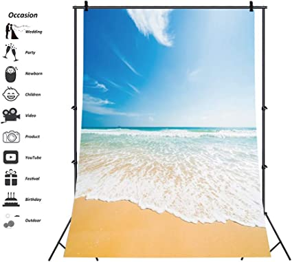 7x10 FT Landscape Vinyl Photography Backdrop,Seascape View from Pier Under Cloudy Vivid Summer Sky Beach Theme Print Background for Baby Birthday Party Wedding Graduation Home Decoration