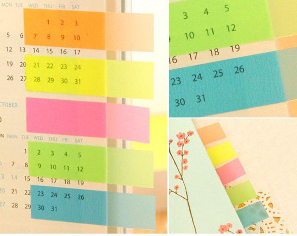 980 pi/èces 7 couleurs Marque-pages Feuillets autocollants surligneurs de texte en film transparent pour /Étiquettes onglets s/éparateur Guides dindex