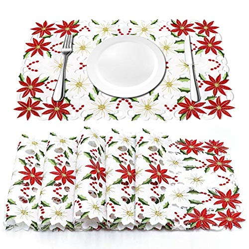 AerWo Christmas Holiday Placemats Set of 6, Embroidered Poinsettia Christmas Table Place Mats for Christmas Dinner 12 × 18 Inch - Dinner Christmas