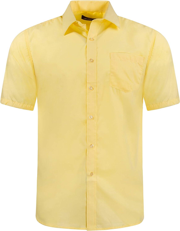 Alberto Danelli Mens Short Sleeve Button Down Cotton Blend Dress Shirt