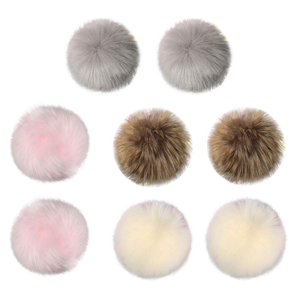 Culater® DIY 8 Pcs Soft Faux Fox Fur Poms Ball for Hats Accessories,9cm Fluffy Artificial Faux Fur Pom Pom Ball for Winter Beanie Hat