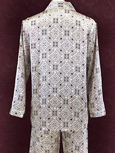 パジャマ メンズ シルク 絹100% オーナメント柄 グレージュ 絹 寝間着 上下セット 紳士用