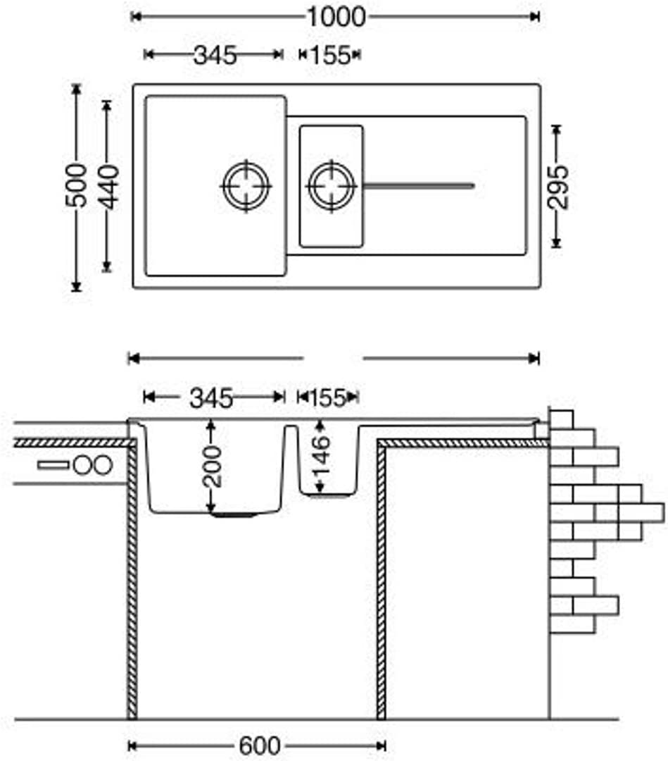 1,5 Becken reversibel grau Enigma Granitsp/üle Ablage