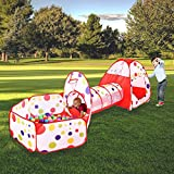 MAIKEHIGH Indoor Outdoor Play Tunnel and Tent Play Tent Cubby-Tube-Teepee Indoor Pop up Tent 3pc Outdoor Gamehouse Toy Hut Easy Fold Ocean Ball Pool with Basketball Hoop Reviews