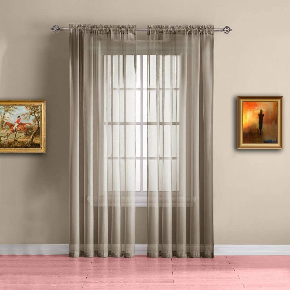 """WARM HOME DESIGNS Pair of Extra Long Taupe (Light Brown) Sheer Window Curtains. Each Voile Drape is 56 X 108 Inches in Size. Great for Living or Kids Room. 2 Fabric Panels Included. AM Taupe 108"""""""