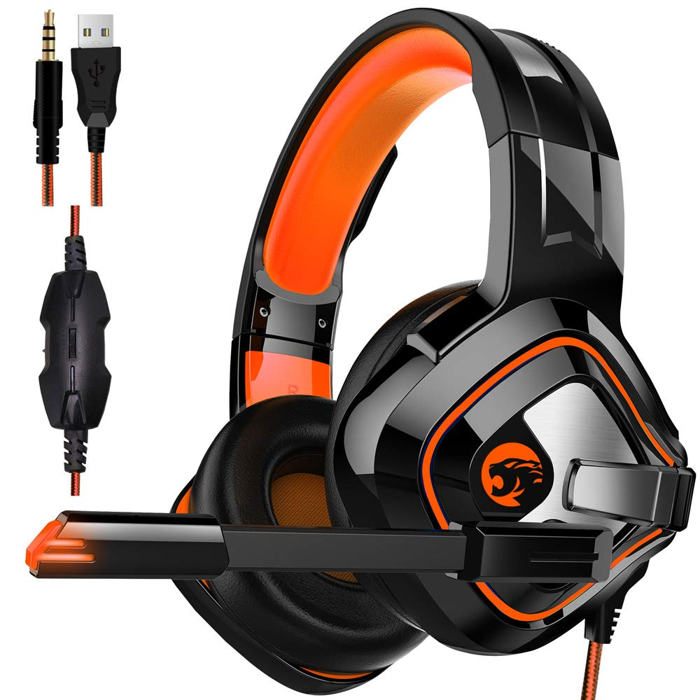 Gaming Headset,Proslife Game Headphones with LED Lighting 3.5mm Surround Sound Noise Cancelling Microphone for Laptop, Desktop, MAC, Xbox, PS4, Phone Tablet