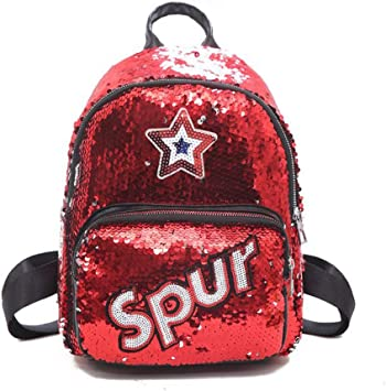 Sequin School Backpack for Girls Students Magic Glitter Lightweight Travel Backpack Red