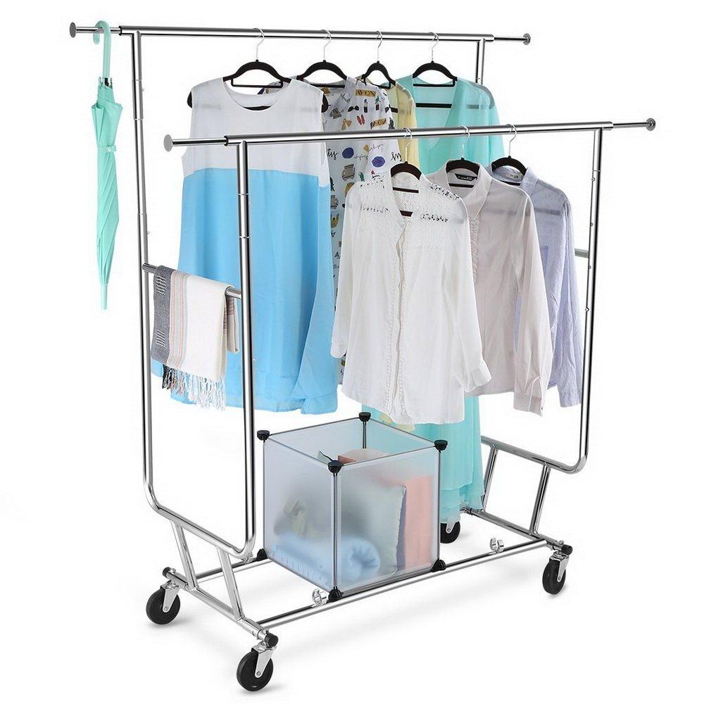 Perchero para ropa, Teekland, portátil, plegable, con doble ...