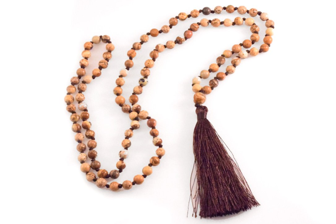 Jasper Tassel Necklace and Bracelet 108 Beads Long Fashion Style Brown String by Blupear