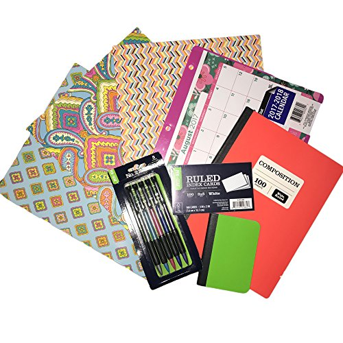 City Chic- Back to School Supplies Bundle- 8 Piece Set- Folders, Composition Book, Desk Calendar, Mechanical Pencils, Index Cards, Mini Composition Book