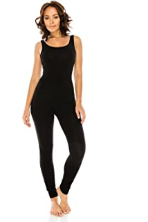 62b701af166d The Classic Womens Stretch Cotton Sleeveless One Piece Unitard Jumpsuit  Bodysuits Small to Plus