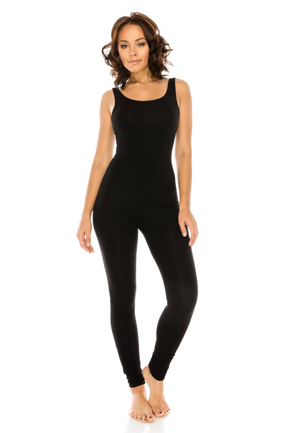 The Classic Women's Stretch Cotton Sleeveless One Piece Unitard Jumpsuit Playsuit in Black - Large