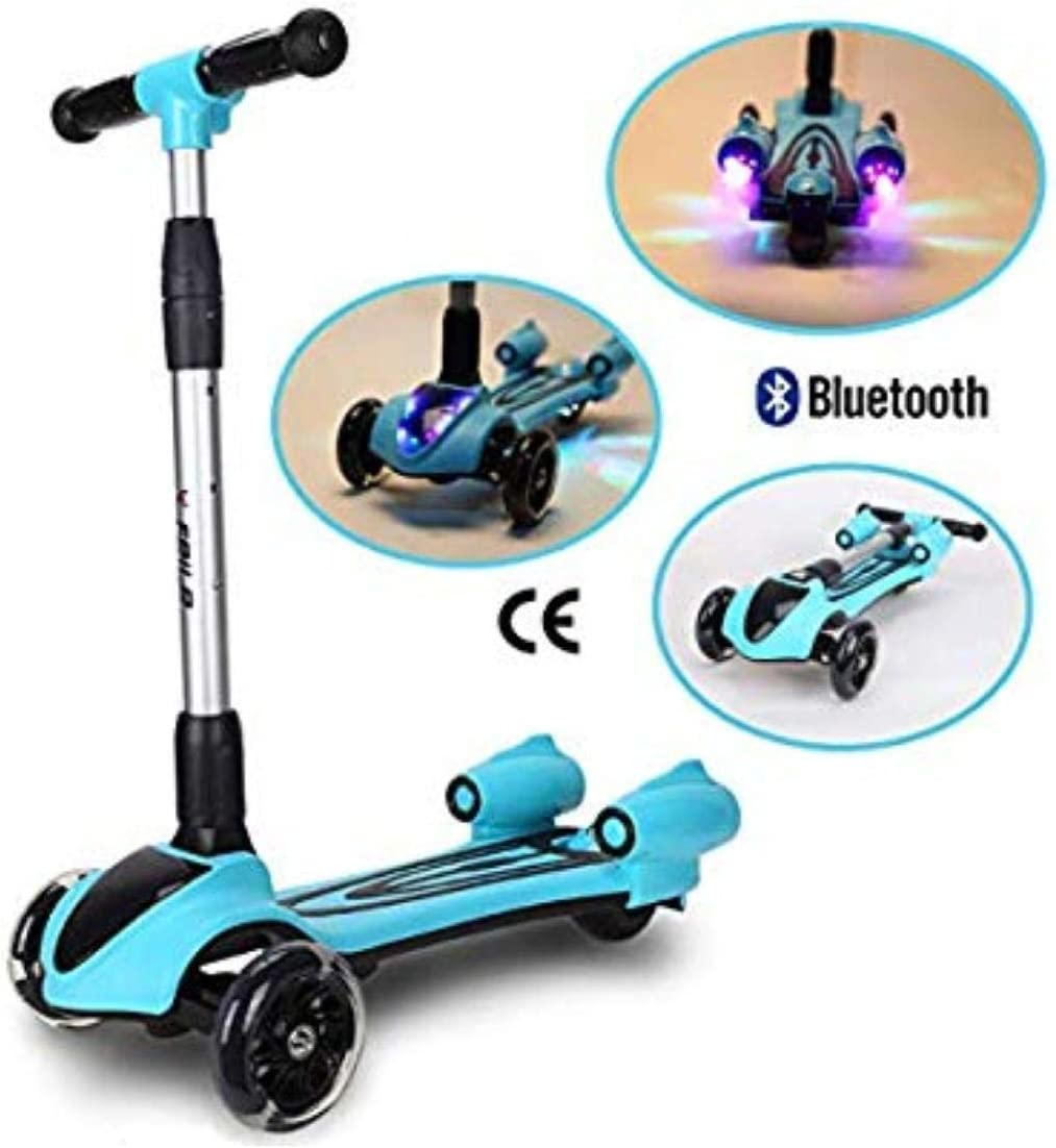 Adjustable 3 Wheel Kids Scooter for Boys and Girls with Light Up Wheels, Bluetooth Speaker, Smoke Machine Kick Scooters for Toddlers Kids Exercise Toddler Outdoor Toys