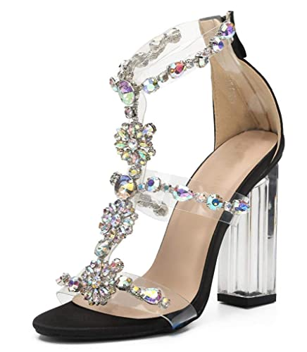 433f21beda71d Amazon.com | CAMSSOO Women Heeled Sandals Fashion Rhinestones Ankle ...