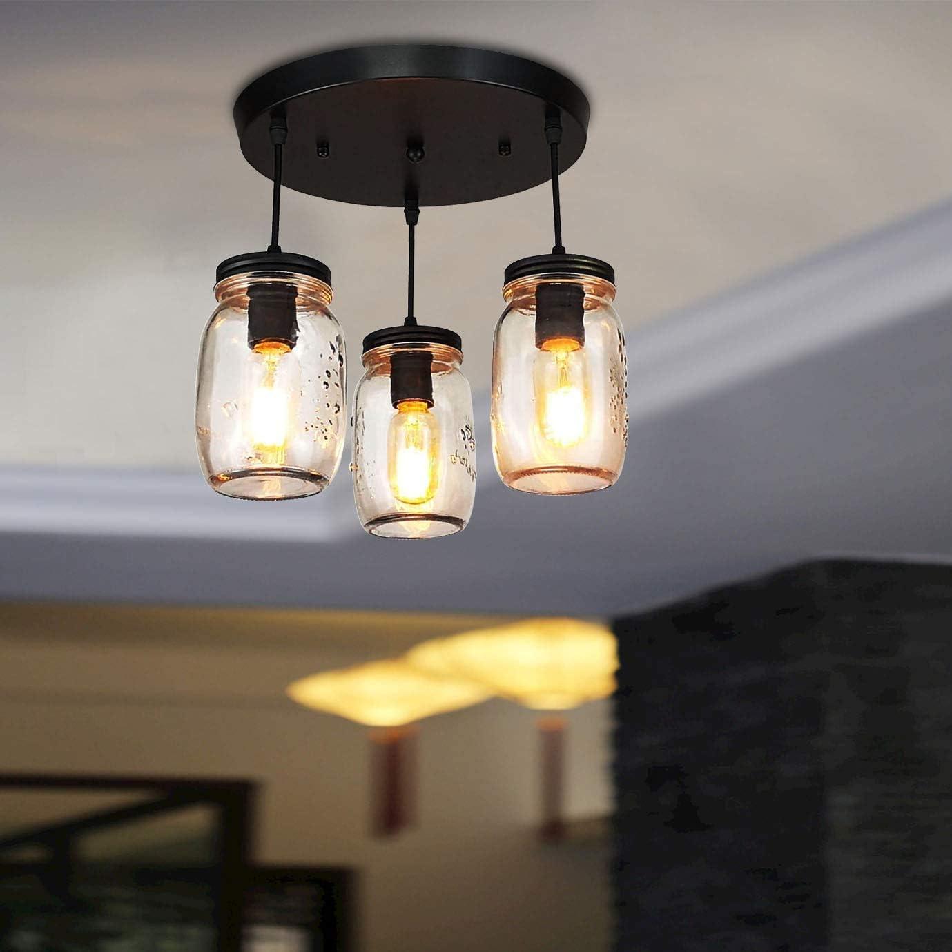 LONGWIND Semi Flush Mount Ceiling Light Fixture with Clear Glass Shade,3 Lights Farmhouse Mason Jar Pendant Lighting for Kitchen Island Bedroom