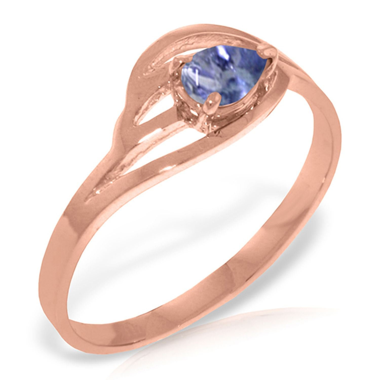 ALARRI 14K Solid Rose Gold Ring w/ Natural Tanzanite With Ring Size 5
