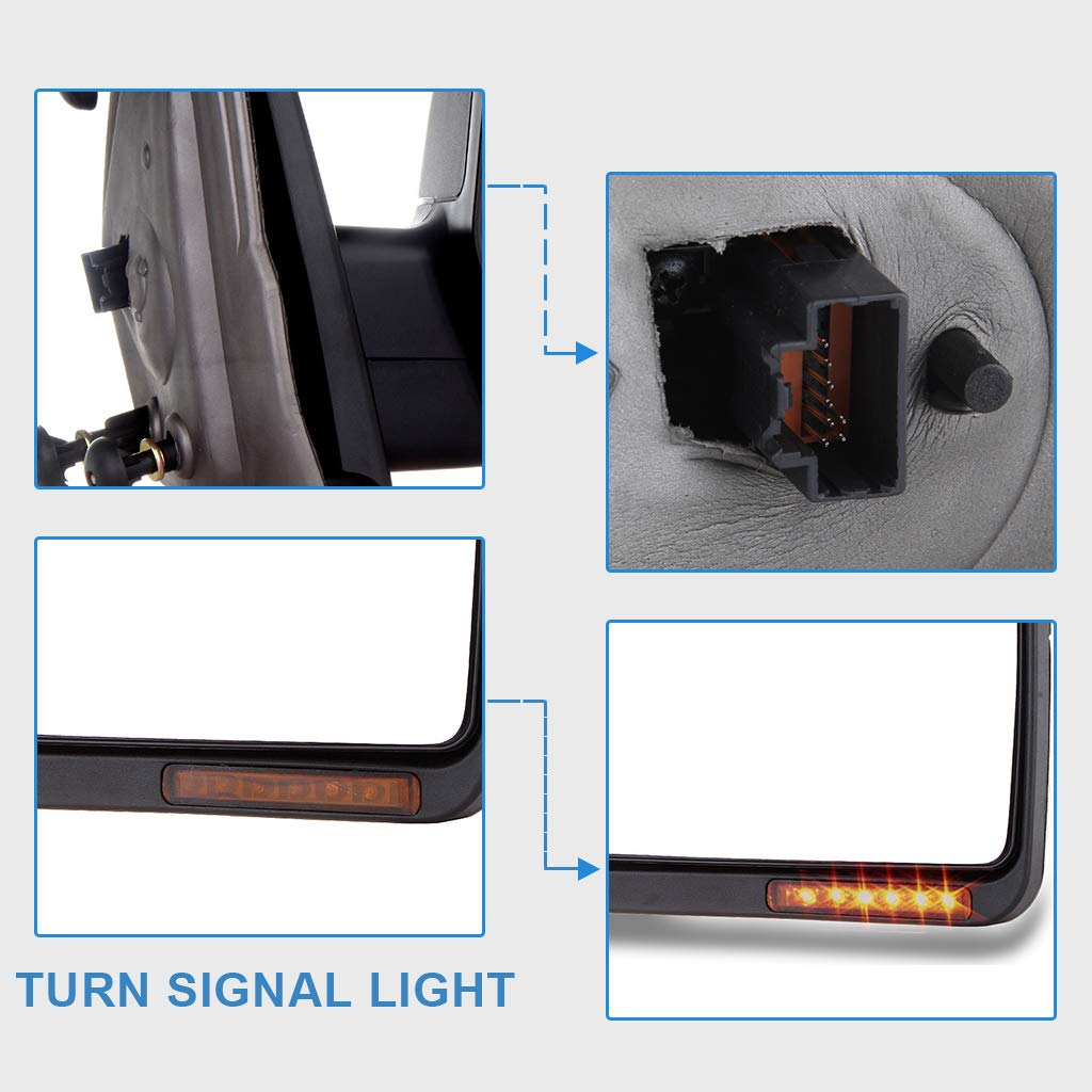 ECCPP Towing Power Adjusted Heated Turn Signal Light Mirrors fit for 2004 2005 2006 Ford F150 Pickup Truck Pair Side Left Right Tow Mirrors Manual Folding