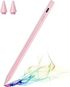 Stylus Pen for iPad with Palm Rejection, QGeeM iPad Pencil Compatible with (2018-2021) Apple iPad Pro (11/12.9 Inch),iPad 6th/7th/8th Gen,iPad Mini 5th Gen,iPad Air 3rd/4th Gen ,Apple Pencil-Pink