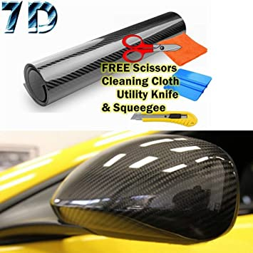 *7D Premium High Gloss Black Carbon Fiber Vinyl Wrap Bubble Free Air Release 6D