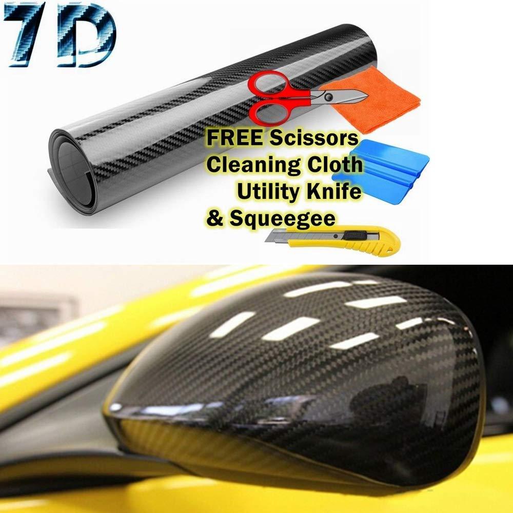 "*36/""x60/"" 4D Gloss Yellow Carbon Fiber Vinyl Wrap Sticker Bubble Free Air Release"
