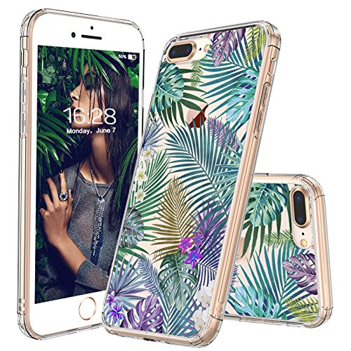 iPhone 7 Plus Case, iPhone 8 Plus Case, MOSNOVO Tropical Palm Tree Leaves Pattern Clear Design Printed Plastic Back Case with TPU Bumper Case Cover for iPhone 7 Plus/iPhone 8 Plus