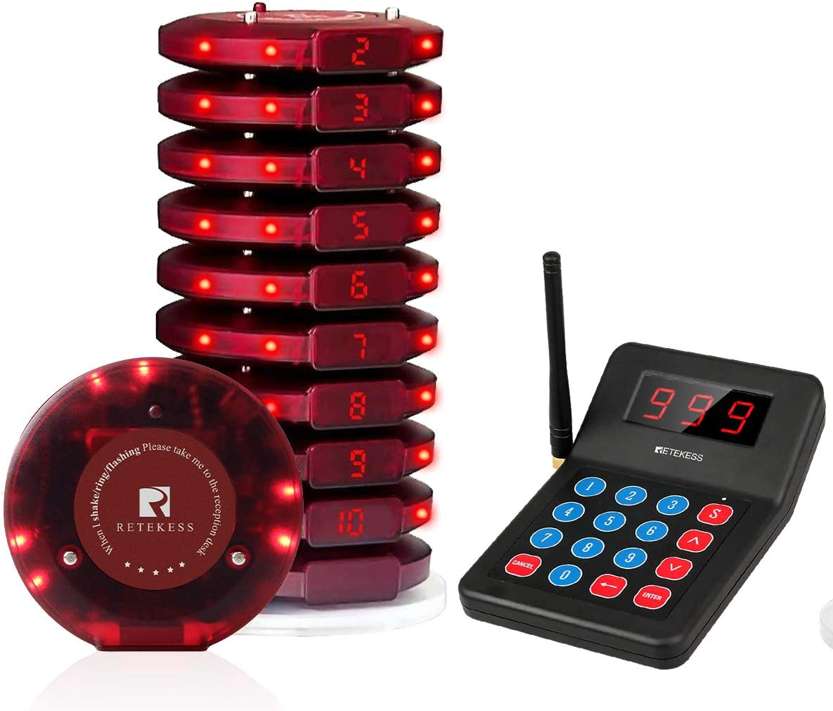 Retekess T119 Restaurant Pager System Long Range Check Calling Records Max 999 Pagers 2 Way Charge 10 Rechargeable Buzzers for Servers Nurses Church Hospital
