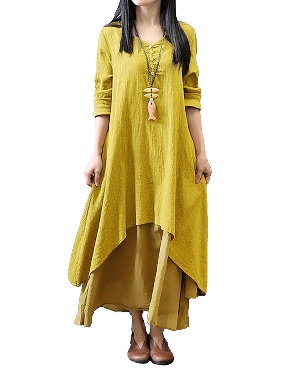 TALLA S. Romacci Vestido Suelto Vestido Ocasional de Las Mujeres Manga Larga Sólida Maxi Vestido Largo de Boho Amarillo
