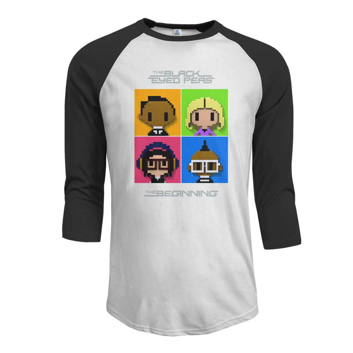 JeremiahR The Black Eyed Peas The Beginning Mens 3//4 Sleeve Raglan Baseball T Shirt Black