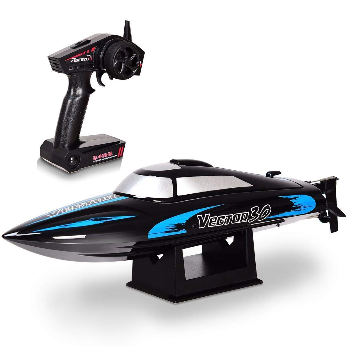 HAPPYGRILL RC Boat Remote Control Boat, Vector30 2.4G RC High Speed Racing Boat for Kids or Adults, Self-righting Auto Roll Back, Reverse Function, Brushed Motor, RTR, Black