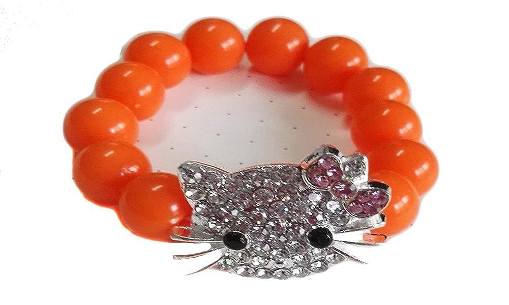 V G S Eternity Fashions Fashion Jewelry ~Kids Hello Kitty Stretch Bead Bracelet Orange