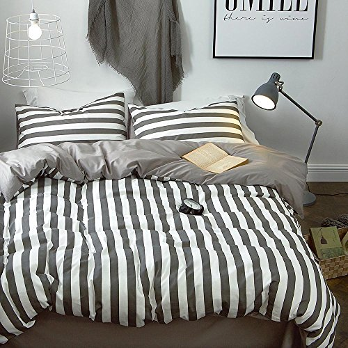 LifeTB Hotel Luxury Striped Bedding Set King Cotton Microfiber Reversible Duvet Cover Set Modern Men Boys Bedding Cover Set 1 Duvet Cover 2 Pillowcases King Bedding Collection by