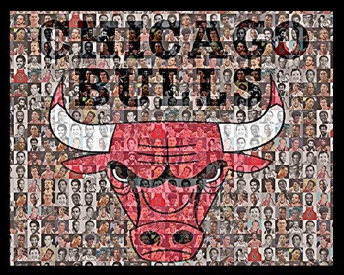 NBA Chicago Bulls Mosaic Print Art Designed Using 50 Past and Present Bulls Players. 8x10