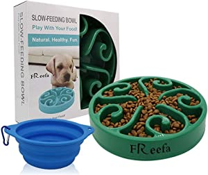 Freefa Slow Feeder Dog Bowl Bloat Stop Dog Food Bowl Maze Interactive Puzzle Non Skid, Come with Free Travel Bowl (Dark Green, for Small/Medium Dog)